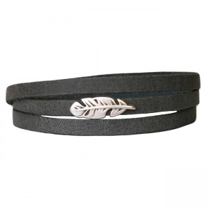Armband Leder Feather donkergrijs