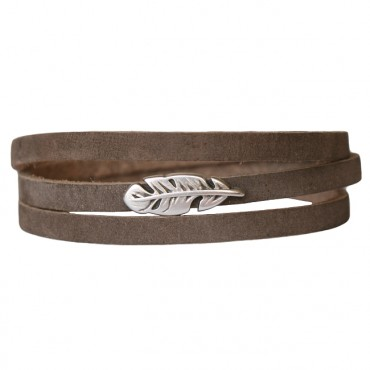 Armband Leder Feather donkertaupe