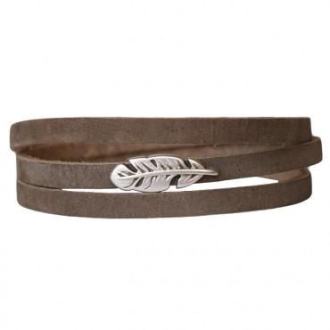 Armband Leder Feather donkertaupe