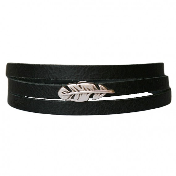 Armband Leder Feather zwart