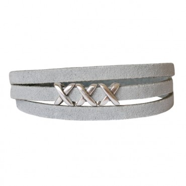 Armband leder kisses lichtgrijs
