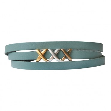 Armband leder kisses mix teal