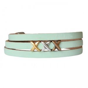 Armband leder kisses mix lichtgroen