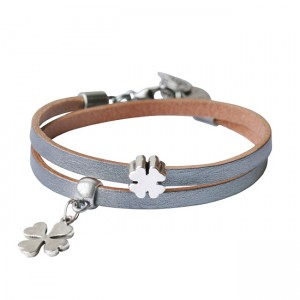 Armband leder Double Luck zilver