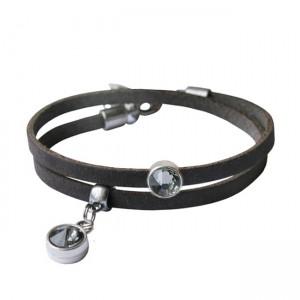 Armband leder Double crystal donkergreige