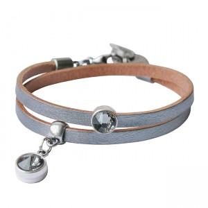 Armband leder Double crystal zilver