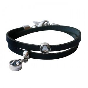 Armband leder Double crystal zwart