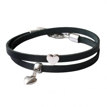 Armband leder Double Love zwart