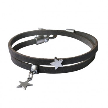 Armband leder Double Star donkergreige