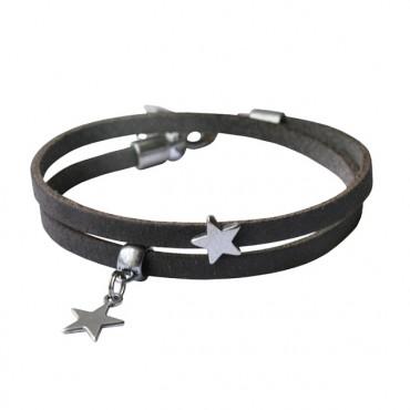 Armband leder Double Star donkergreige