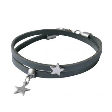 Armband leder Double Star grijs