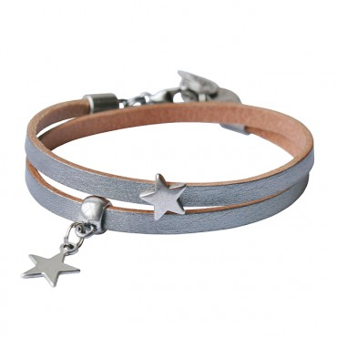Armband leder Double Star zilver