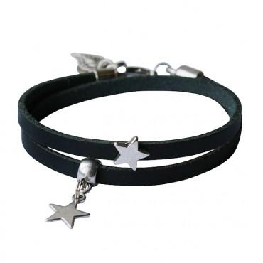 Armband leder Double Star zwart