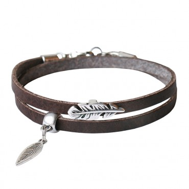 Armband leder Double feather bruin