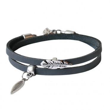 Armband leder Double feather grijs