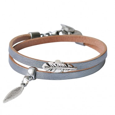 Armband leder Double feather zilver