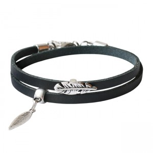 Armband leder Double feather zwart
