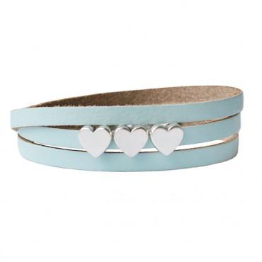 Armband leder LOVE lichtblauw