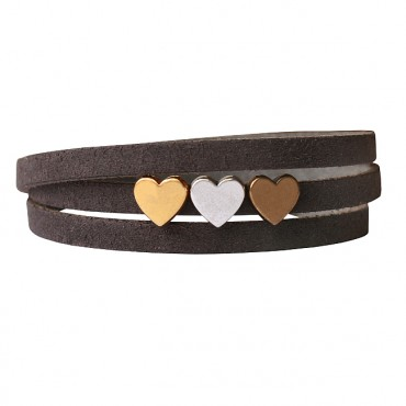 Armband leder LOVE mix donkergreige