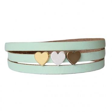 Armband leder LOVE mix lichtgroen