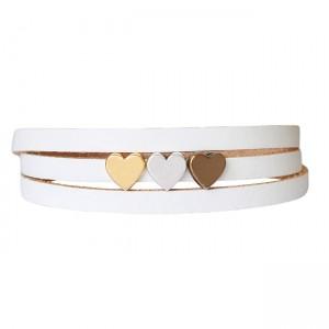 Armband leder LOVE mix wit