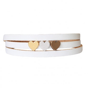 Armband leder LOVE mix wit