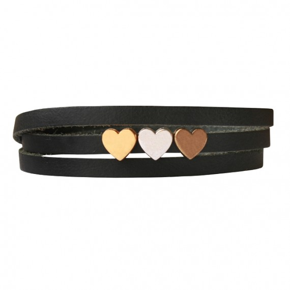 Armband leder LOVE mix zwart