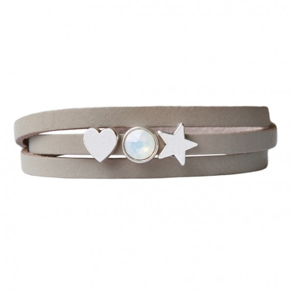 Armband leder Lovely star taupe