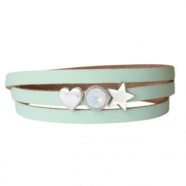 Armband leder Lovely star lichtgroen