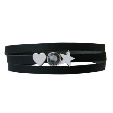 Armband leder Lovely star zwart