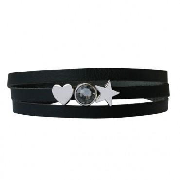 Armband leder Lovely star zwart