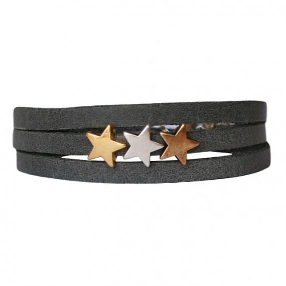 Armband Leder Stars Mix donkergrijs