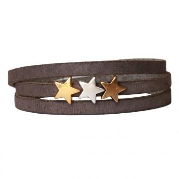 Armband Leder Stars Mix donkergreige