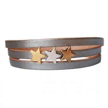 Armband Leder Stars Mix zilver