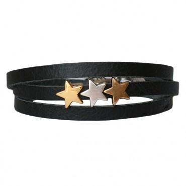 Armband Leder Stars Mix zwart