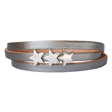 Armband Leder Stars zilver