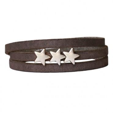 Armband Leder Stars donker-greige