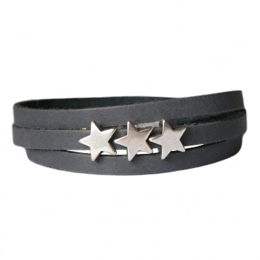 Armband Leder Stars grijs