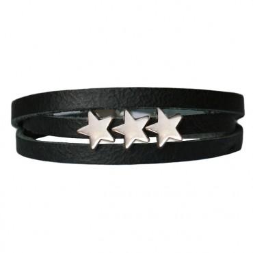 Armband Leder Stars zwart