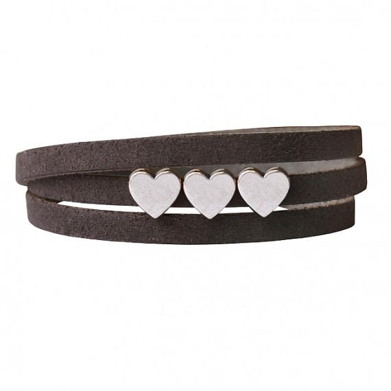 Armband leder LOVE donkergreige