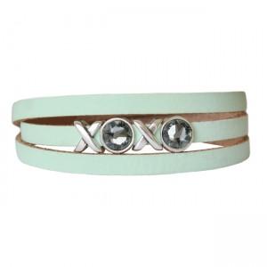 Armband leder XOXO lichtgroen