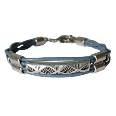 Lederen armband  DARE! Boho sapphire