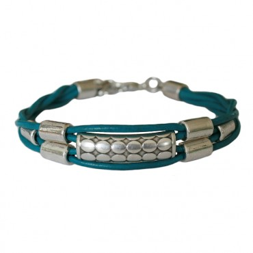 Lederen armband  DARE!  A29, blauw