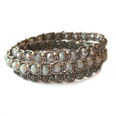 Armband Macramé Triple Facet Grey Mix