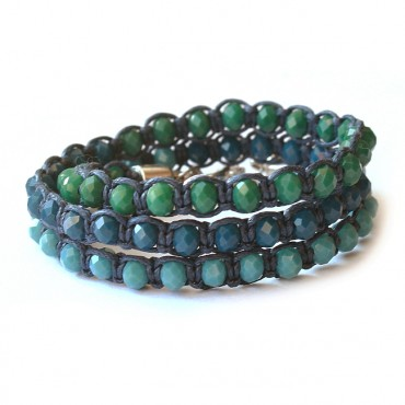 Armband Macramé Triple Facet Blue/Green Mix
