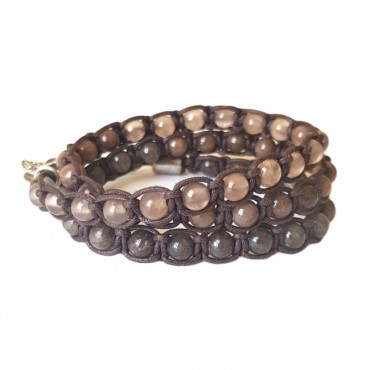 Armband Macramé Triple Agate Brown Mix