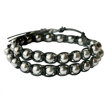 Armband Macramé Double Metal Black