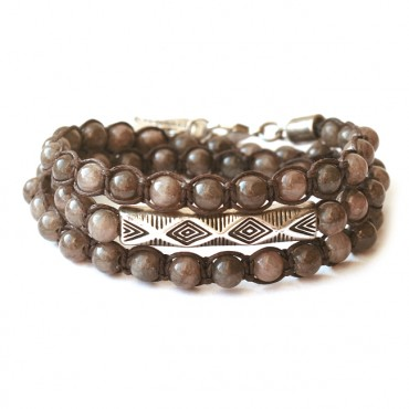 Armband Macramé Triple Tube Agate Brown