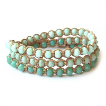 Armband Macramé Triple Facet Pastel Turkoois Mix