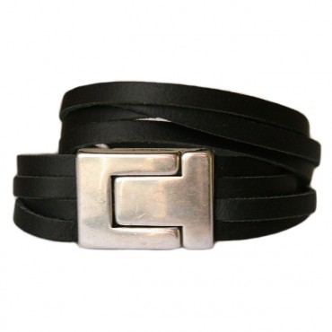 Armband leder DARE!  LA26, zwart